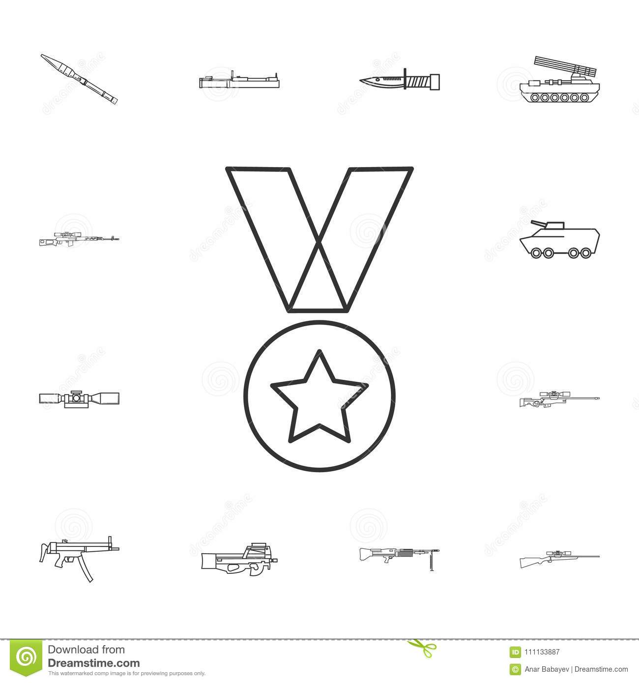 Military Medal Line Icon   Element Of Popular Army Icon