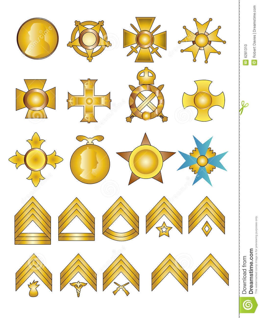 military medals and ranks stock vector image of medal