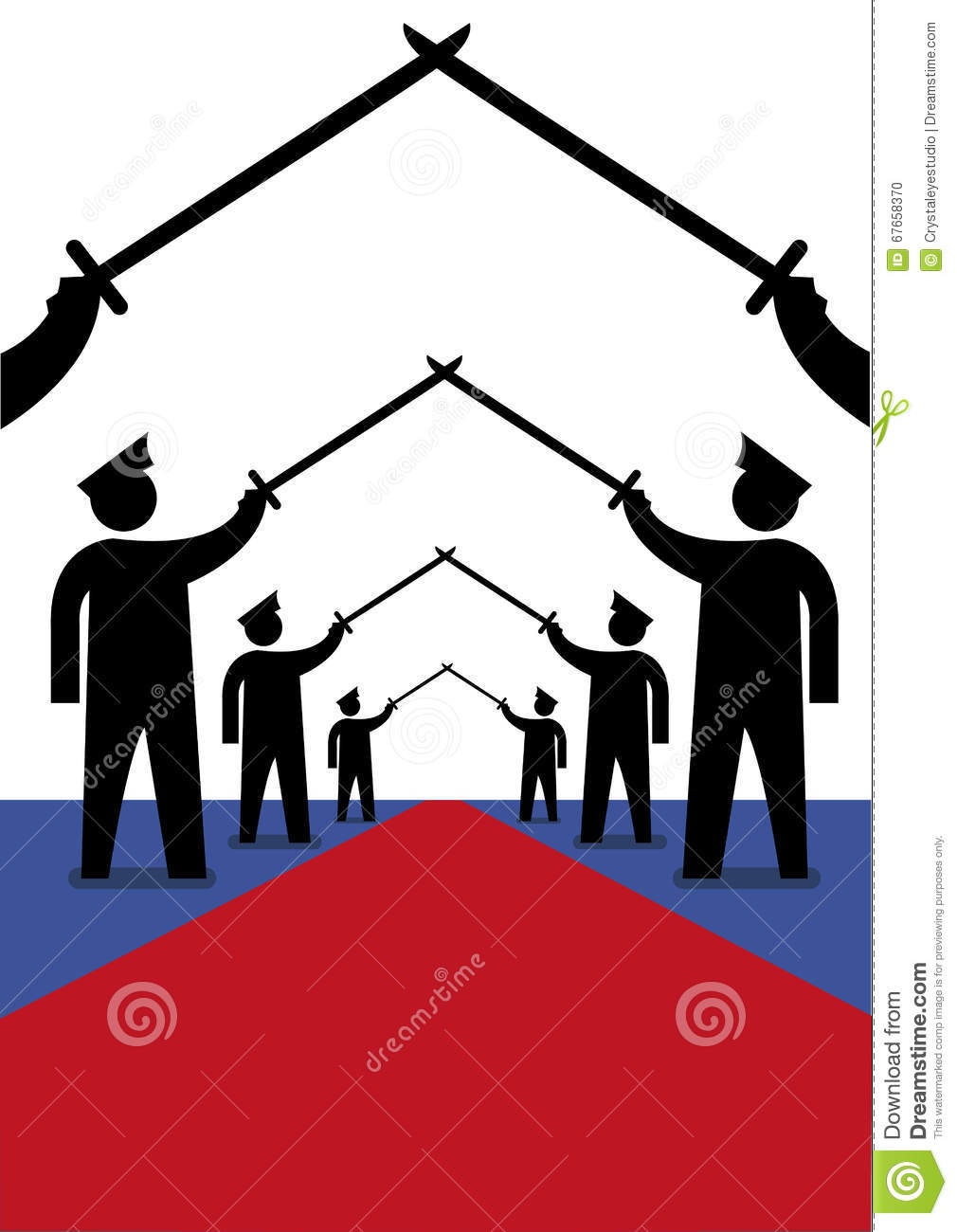 Military officers in a Saber Arch position for welcoming march. Editorial Clip Art.