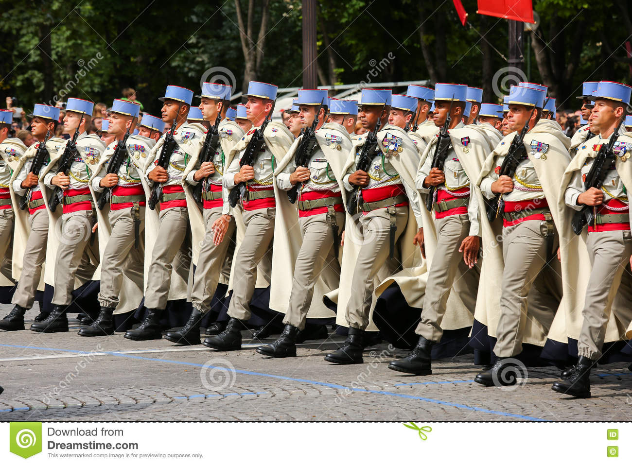 Military parade (Defile) during the ceremonial of french national day, Champs Elysee avenue.
