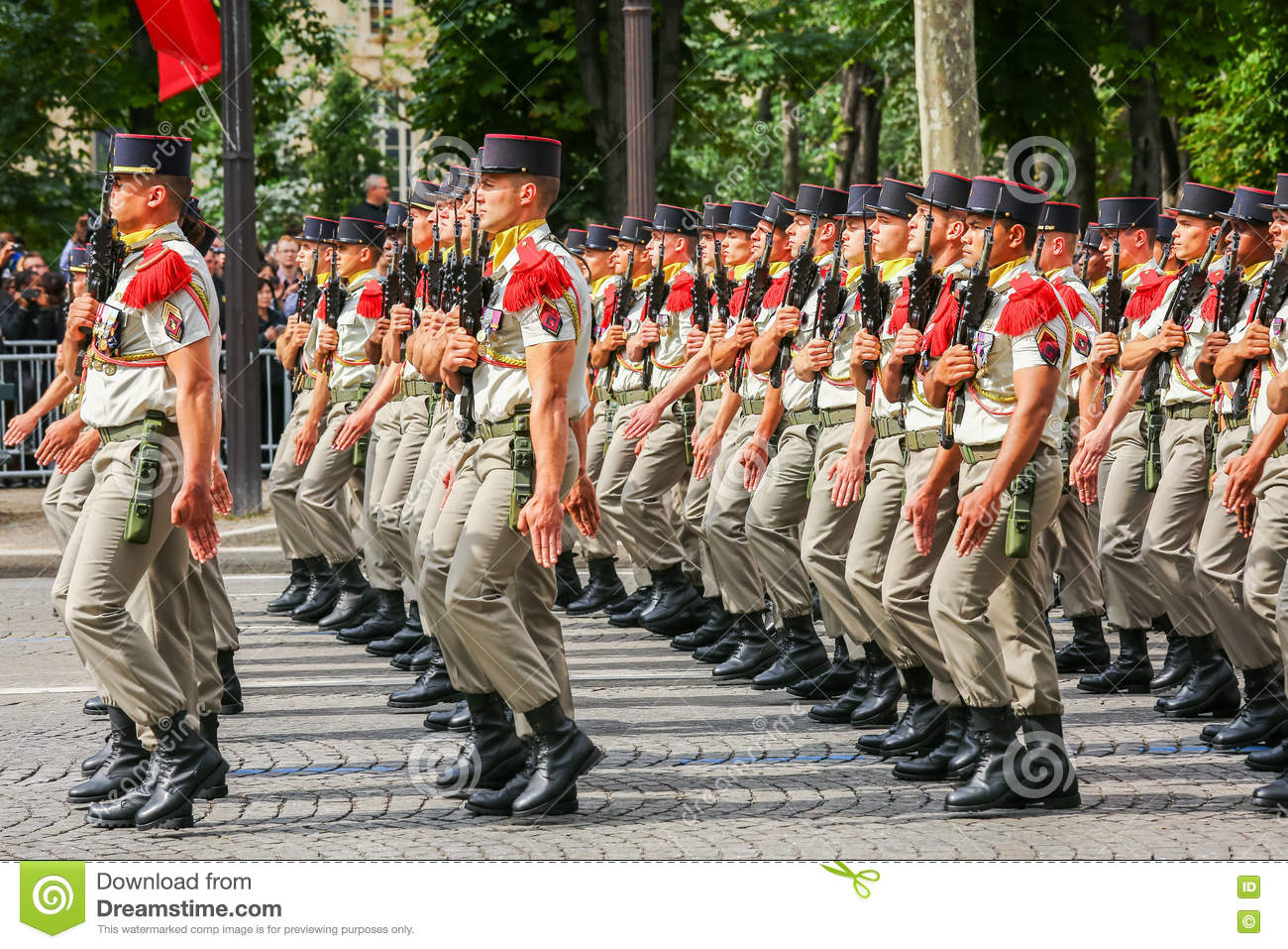 Military parade of National Gendarmerie (Defile) during the ceremonial of french national day, Cham