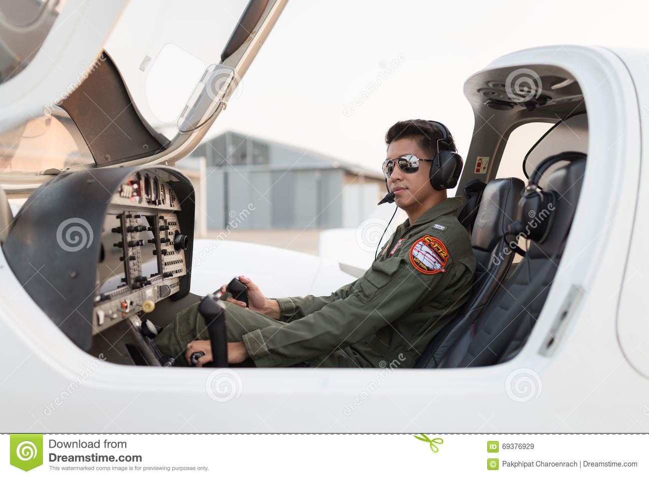 Military pilot on the aircraft.
