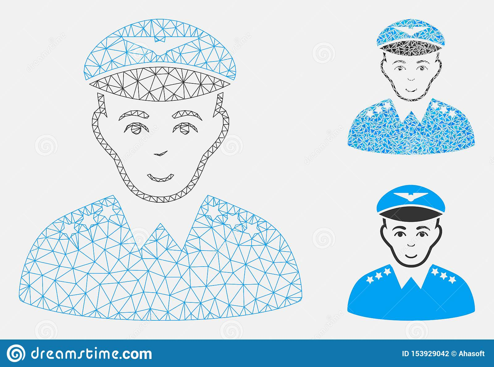 Military Pilot Officer Vector Mesh Network Model and Triangle Mosaic Icon