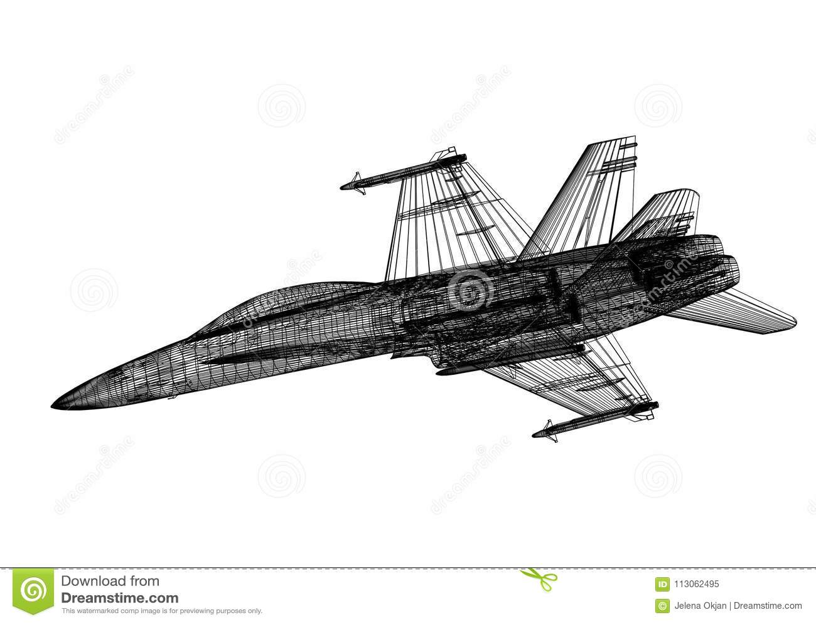 Military Plane 3D Blueprint - Isolated Stock Illustration