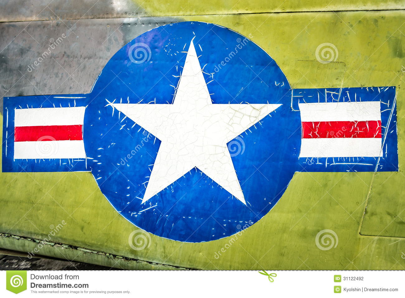 91b25220574 Military Plane With Star And Stripe Sign. Stock Photo - Image of ...