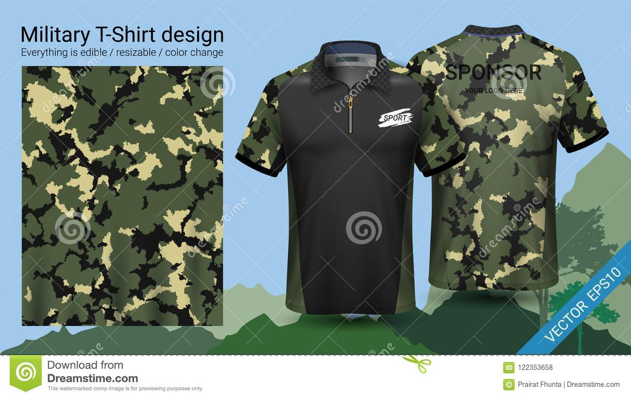 Military Polo T Shirt Design With Camouflage Print Clothes For