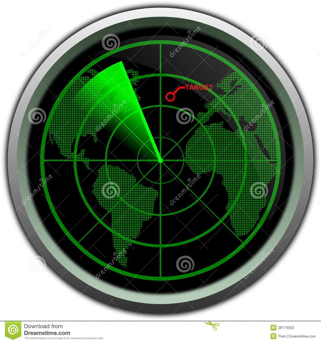 Green Start Web Page Site Map: Military Radar Screen Stock Illustration. Illustration Of