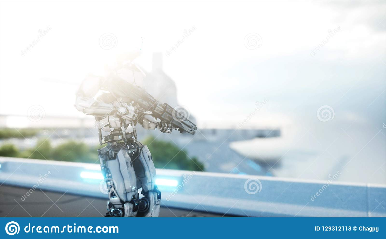 Military robot with gun walking. Futuristic city, town. 3d rendering.