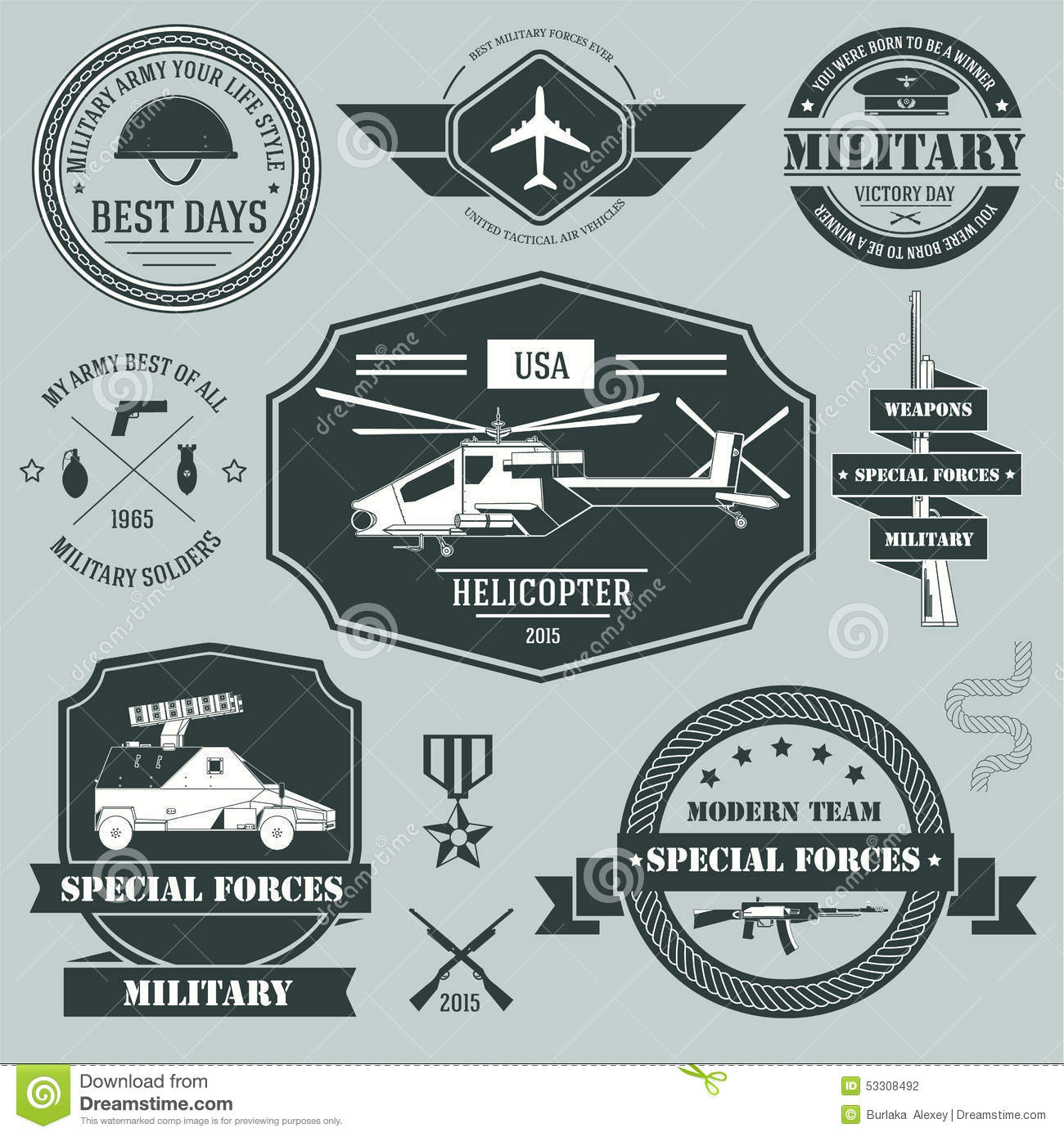 Military set label template of emblem element for stock for Military patch template