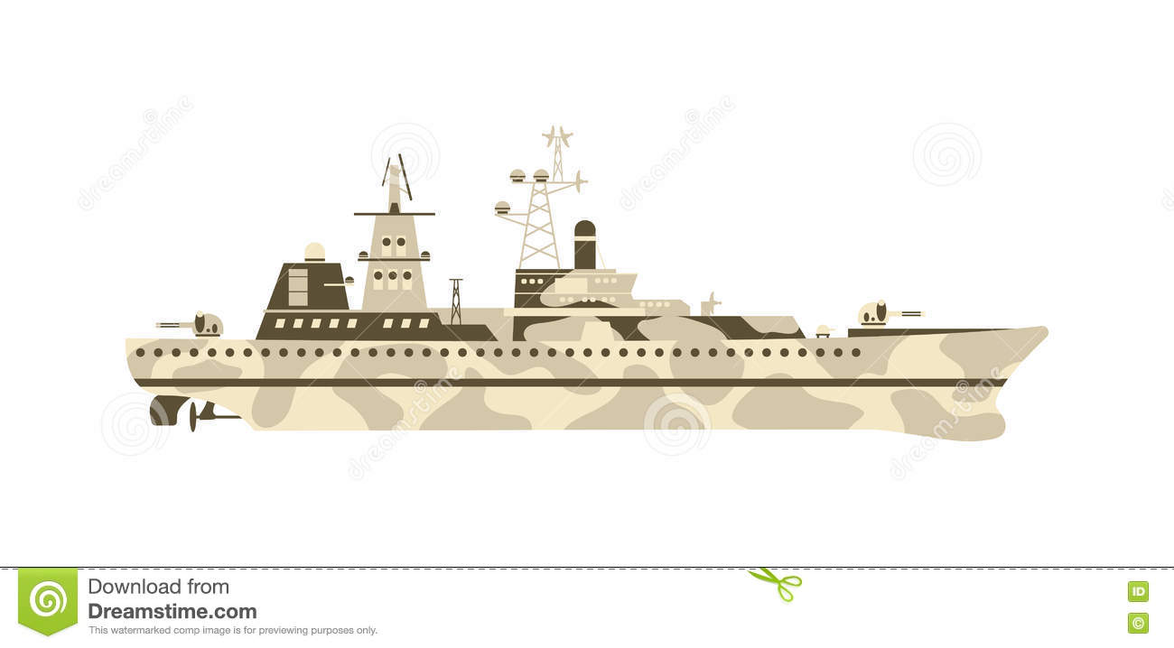 Military Ship Vector Illustration. Stock Vector - Illustration of silhouette, metal: 71338282