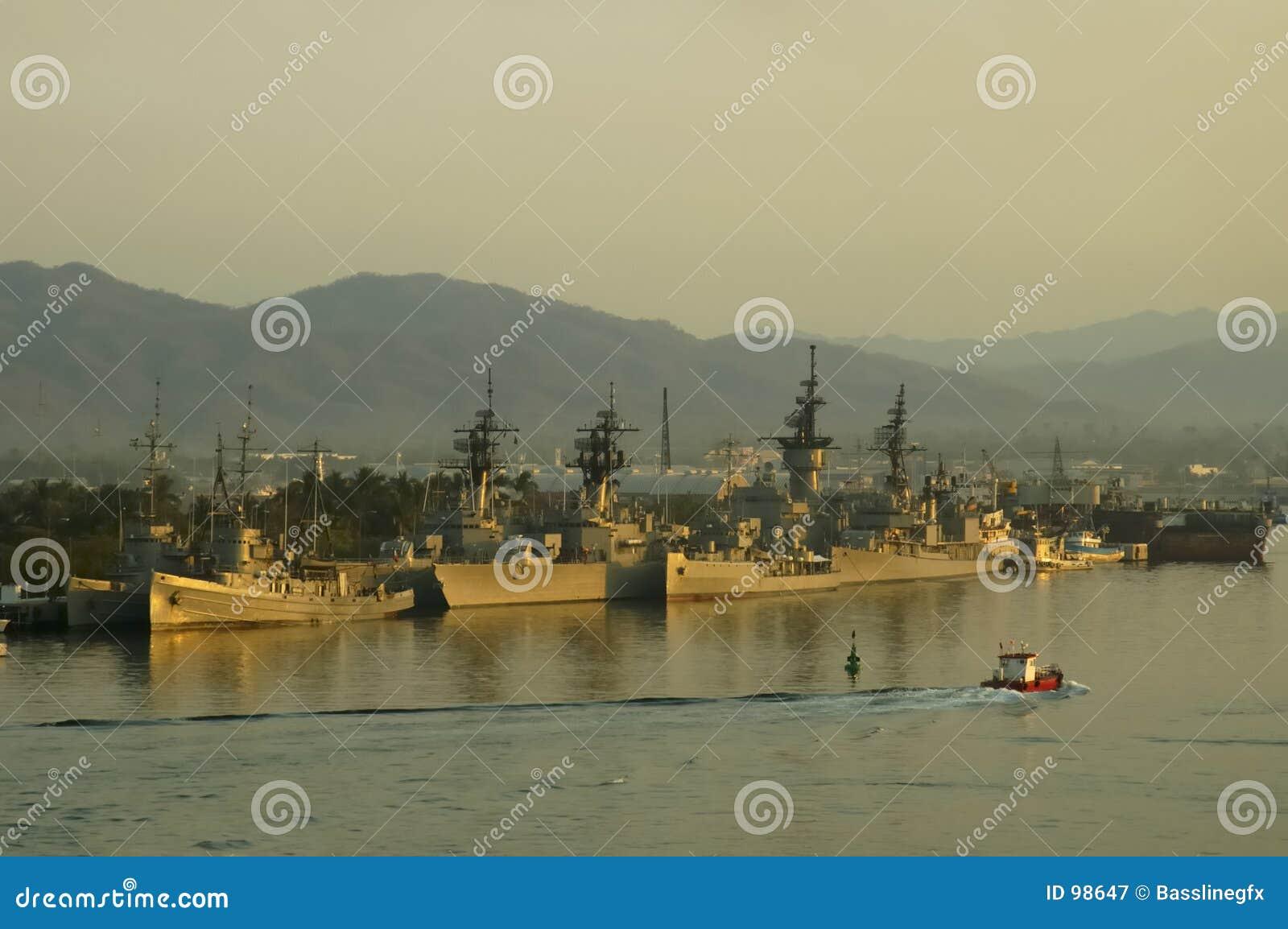 Military Ships Sunset