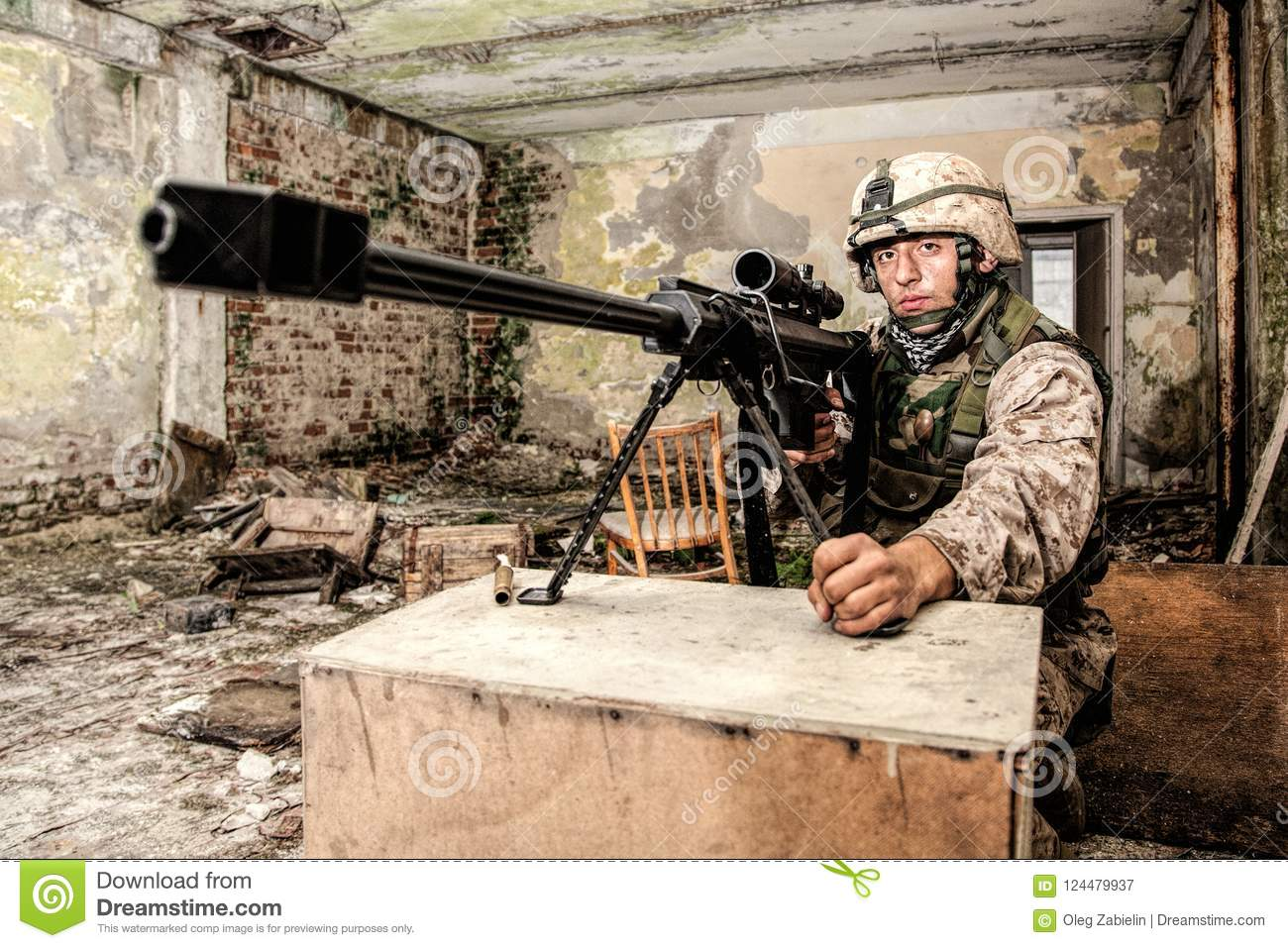 Anti Materiel Rifle marine corps sniper with large caliber rifle stock image