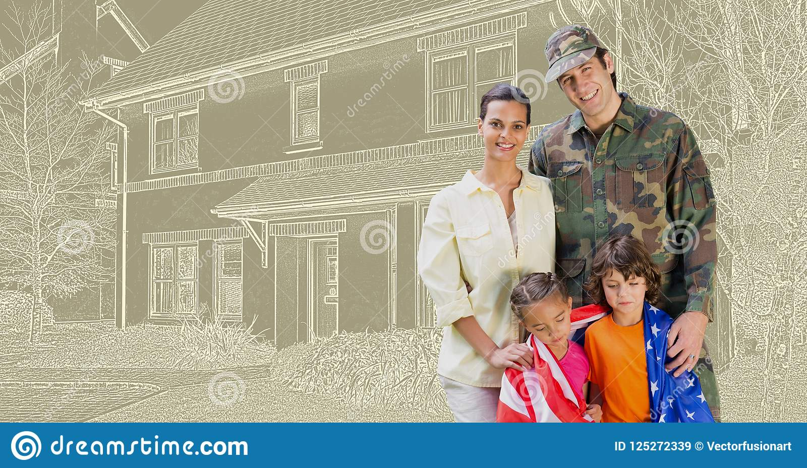 Military soldier family in front of house drawing sketch