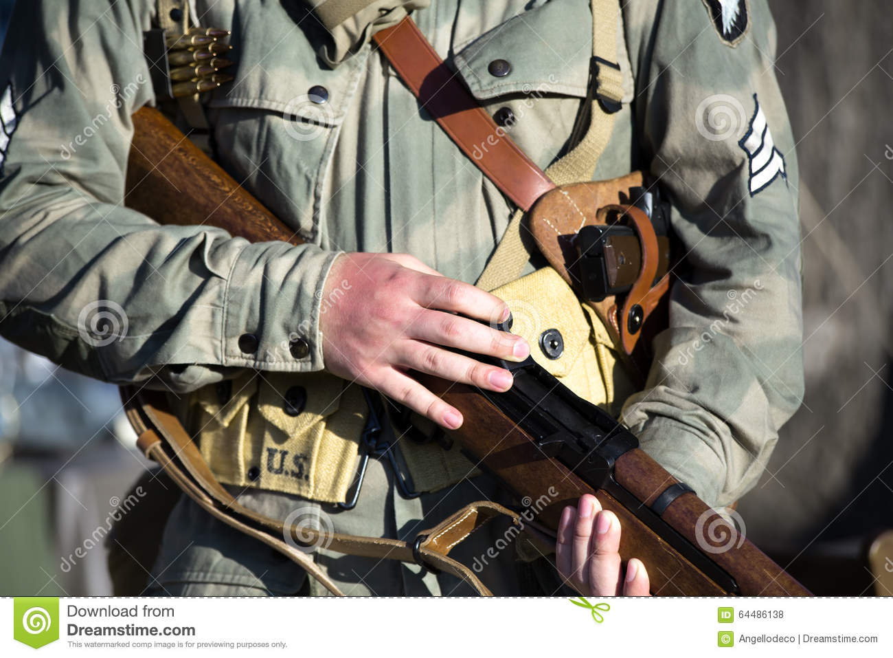 Military 101st Airborne Division With Rifle In Ww2 Stock