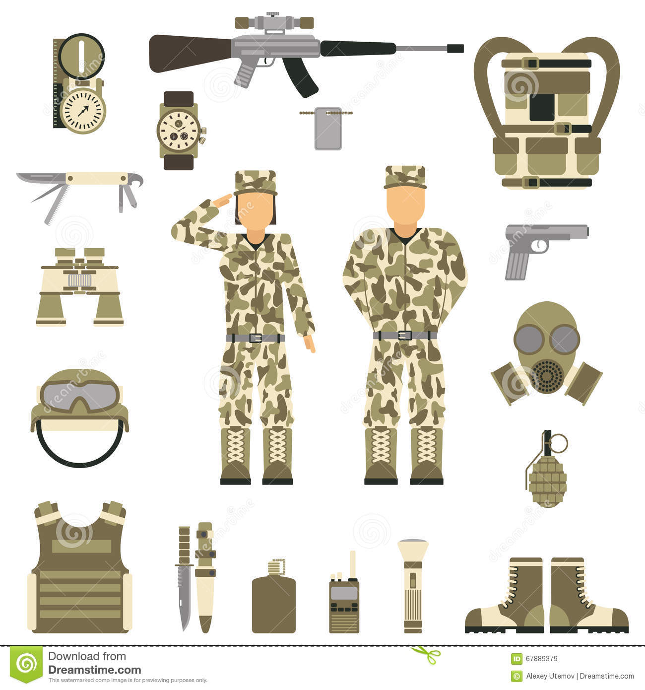 Military Symbols Design With Weapon And Uniform Vector Stock