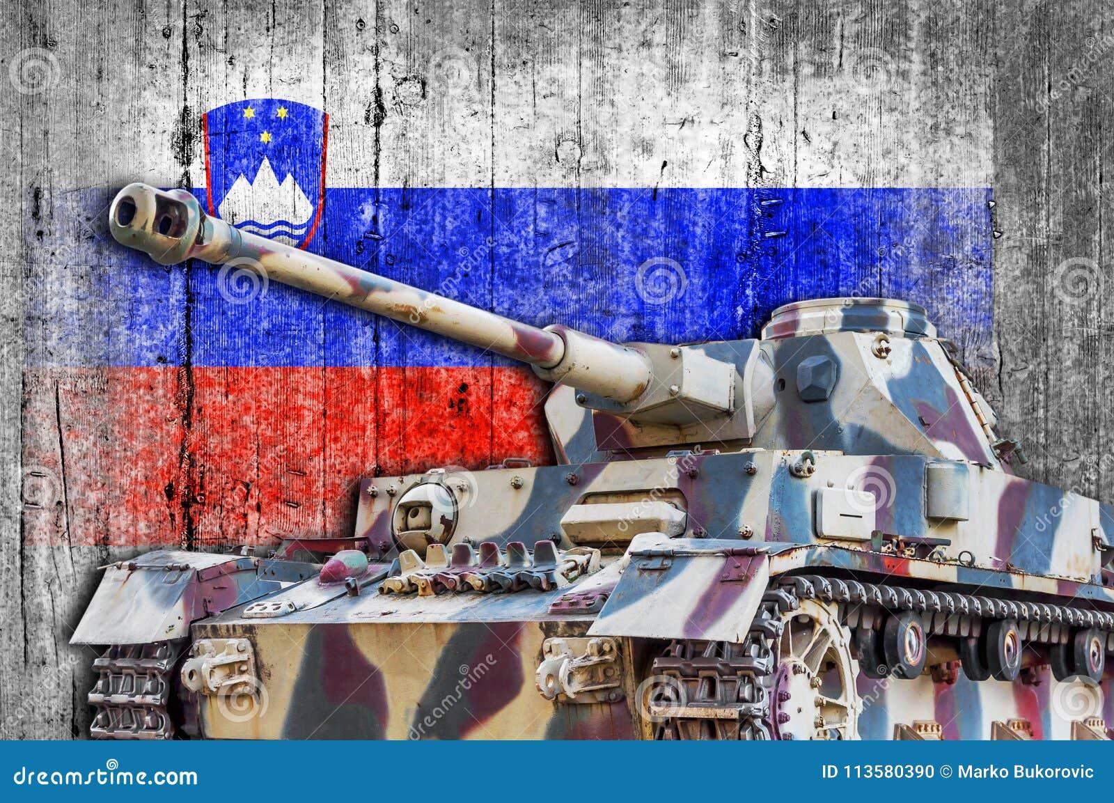 Military Tank With Concrete Slovenia Flag Stock Photo - Image of