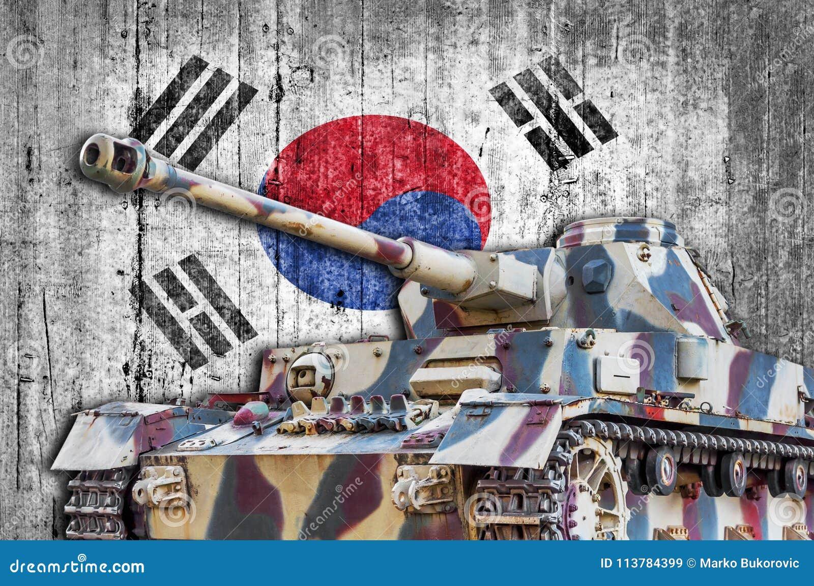 Military tank with concrete South Korea flag