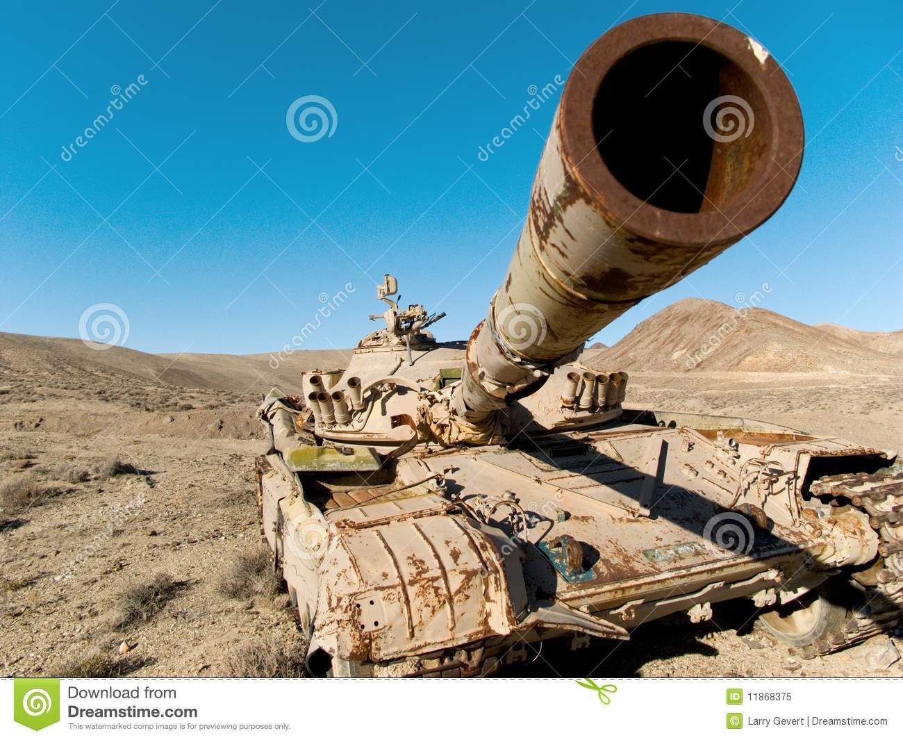 Military tank in the desert