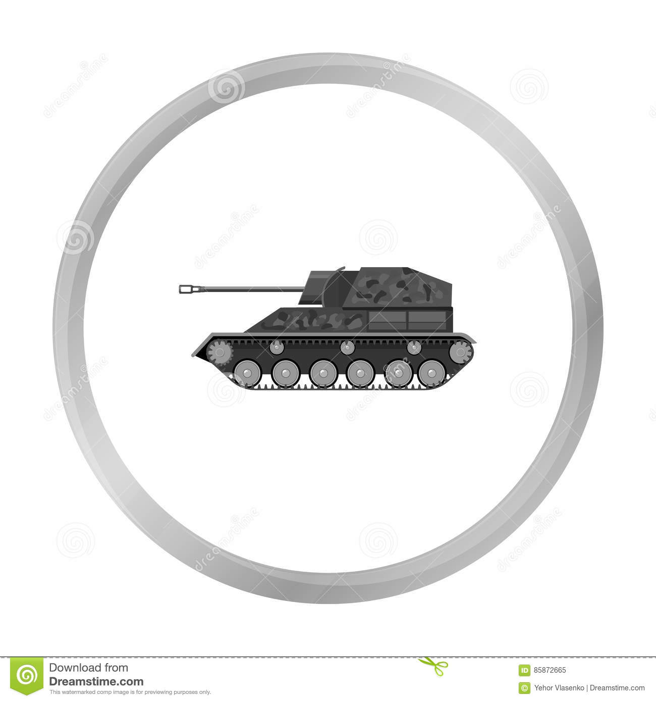 Military Tank Icon In Monochrome Style Isolated On White