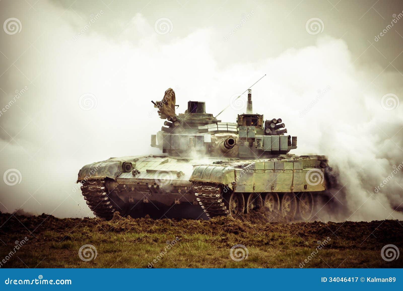 Military tank on war
