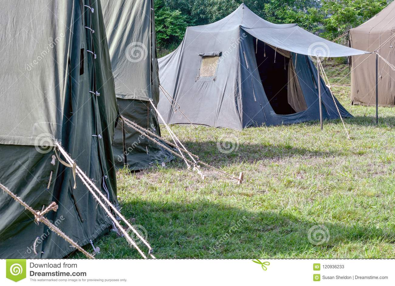 Military Tents Are Set Up Ready For Soliders To Arrive Stock