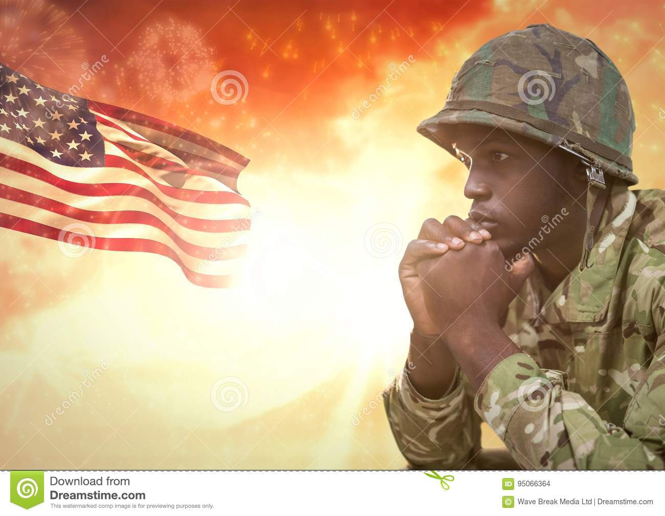 Military thinking against sunset and american flag