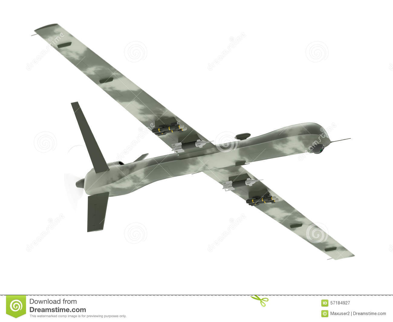 Military unmanned aerial vehicle isolated on white