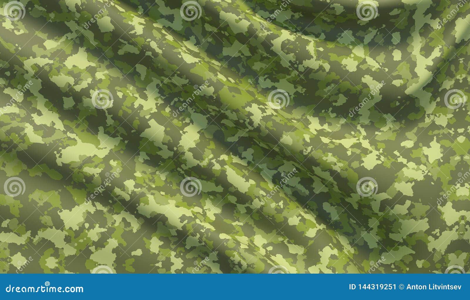 Military war background camouflage khaki fabric texture. 3D illustration.