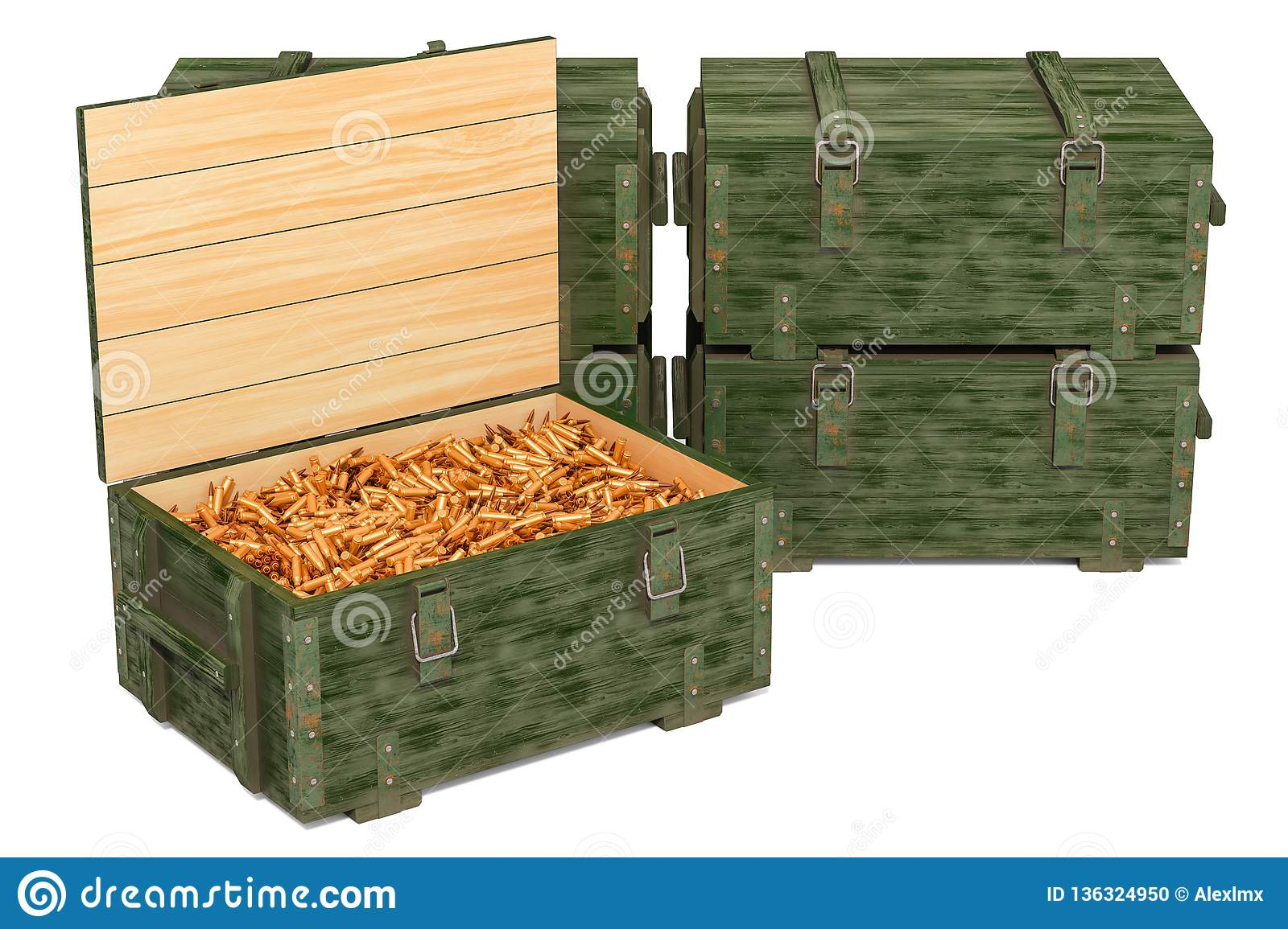 Military wooden ammunition boxes with rifle bullets, 3D rendering