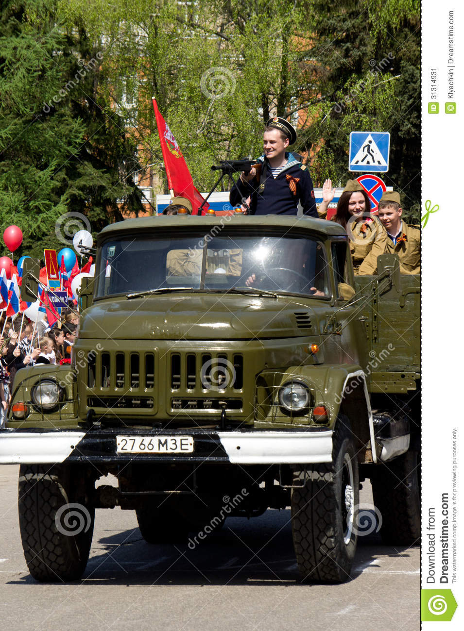 Military zil-131 with the actors in the form of the great patriotic