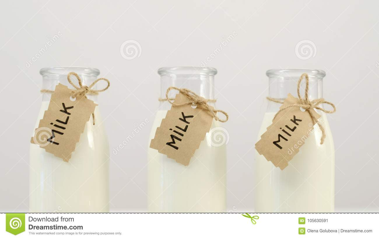 Milk Bottles Local Dairy Farm Products Choice Stock Image - Image of ...