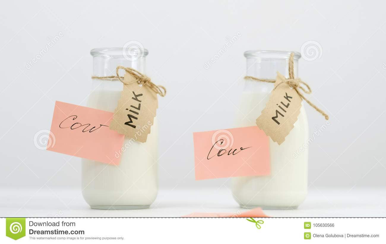 Milk Bottles Local Dairy Farm Products Choice Stock Photo - Image of ...