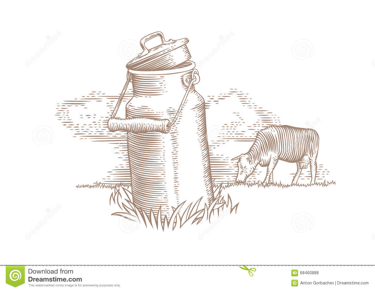 Milk Can And Brown Cow Stock Vector Image Of Graze
