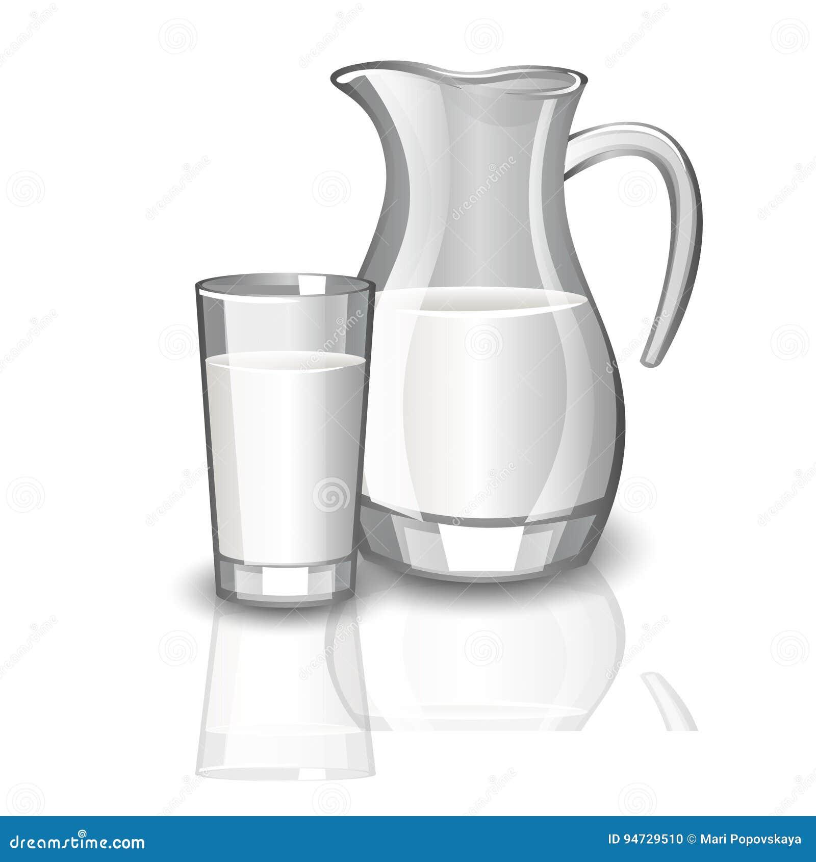 Milk carafe, cup of milk.