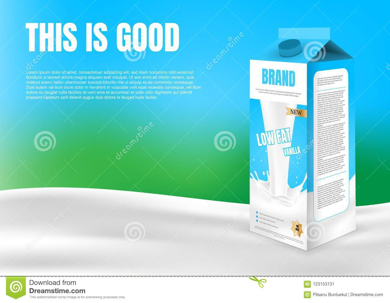 Milk Carton Box On River With Template And Blur Green B
