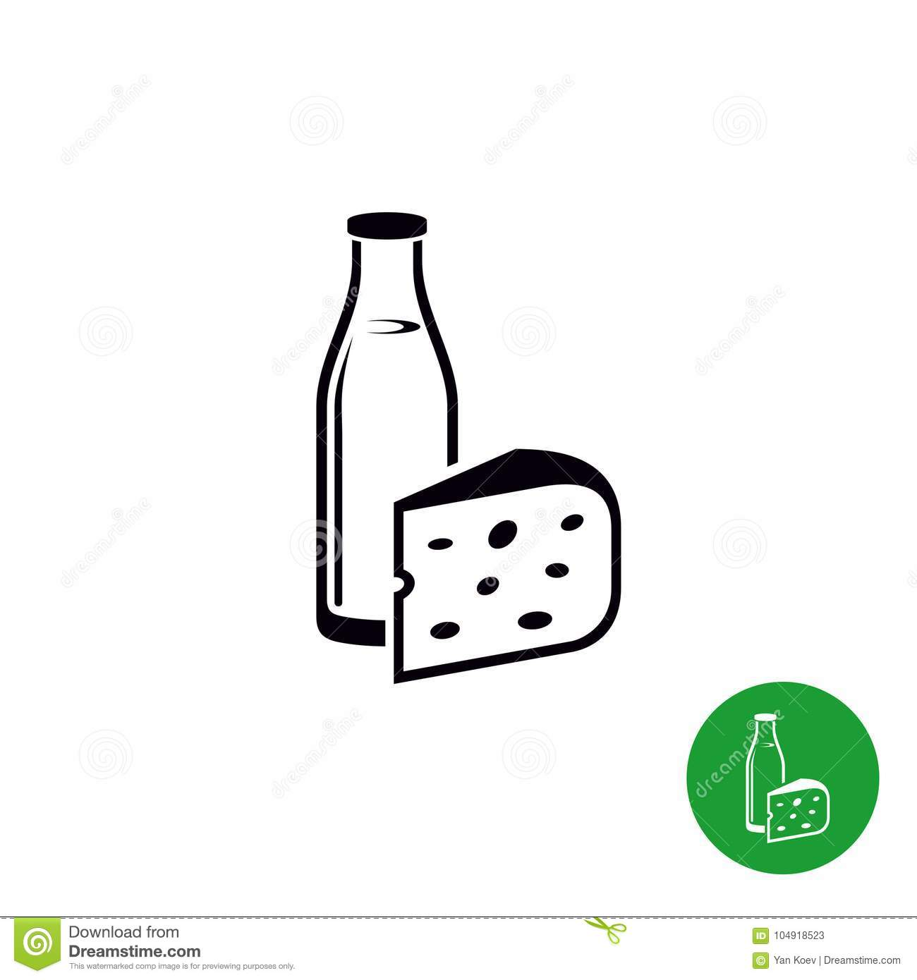 Milk And Cheese Isolated Black Icon Stock Vector