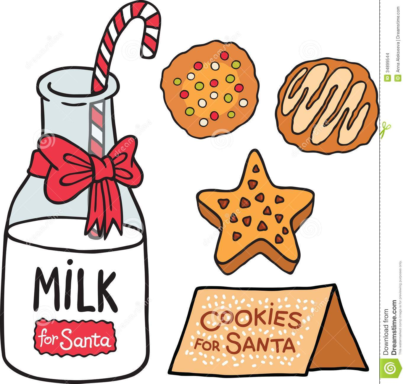 Milk Cookies For Santa Claus Stock Vector Illustration Of Holiday