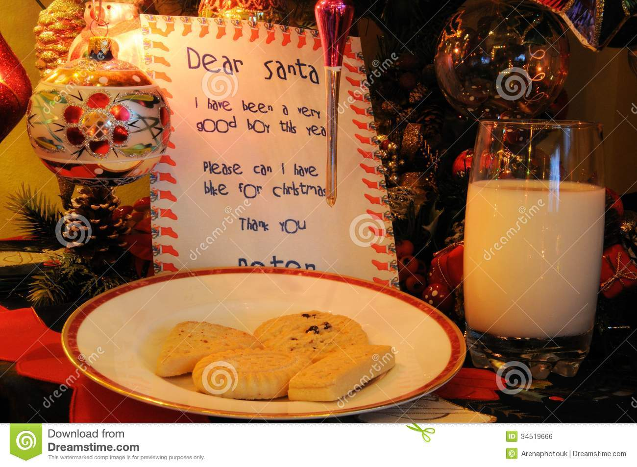 Milk And Cookies For Santa Stock Photo Image Of Baubles