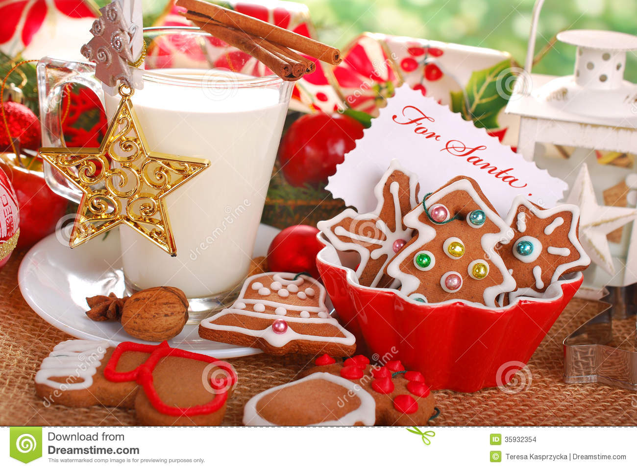Milk And Cookies For Santa Stock Photo Image Of Feed 35932354