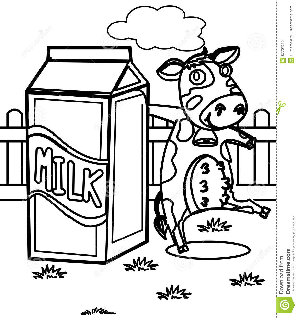 milk with a cow coloring page