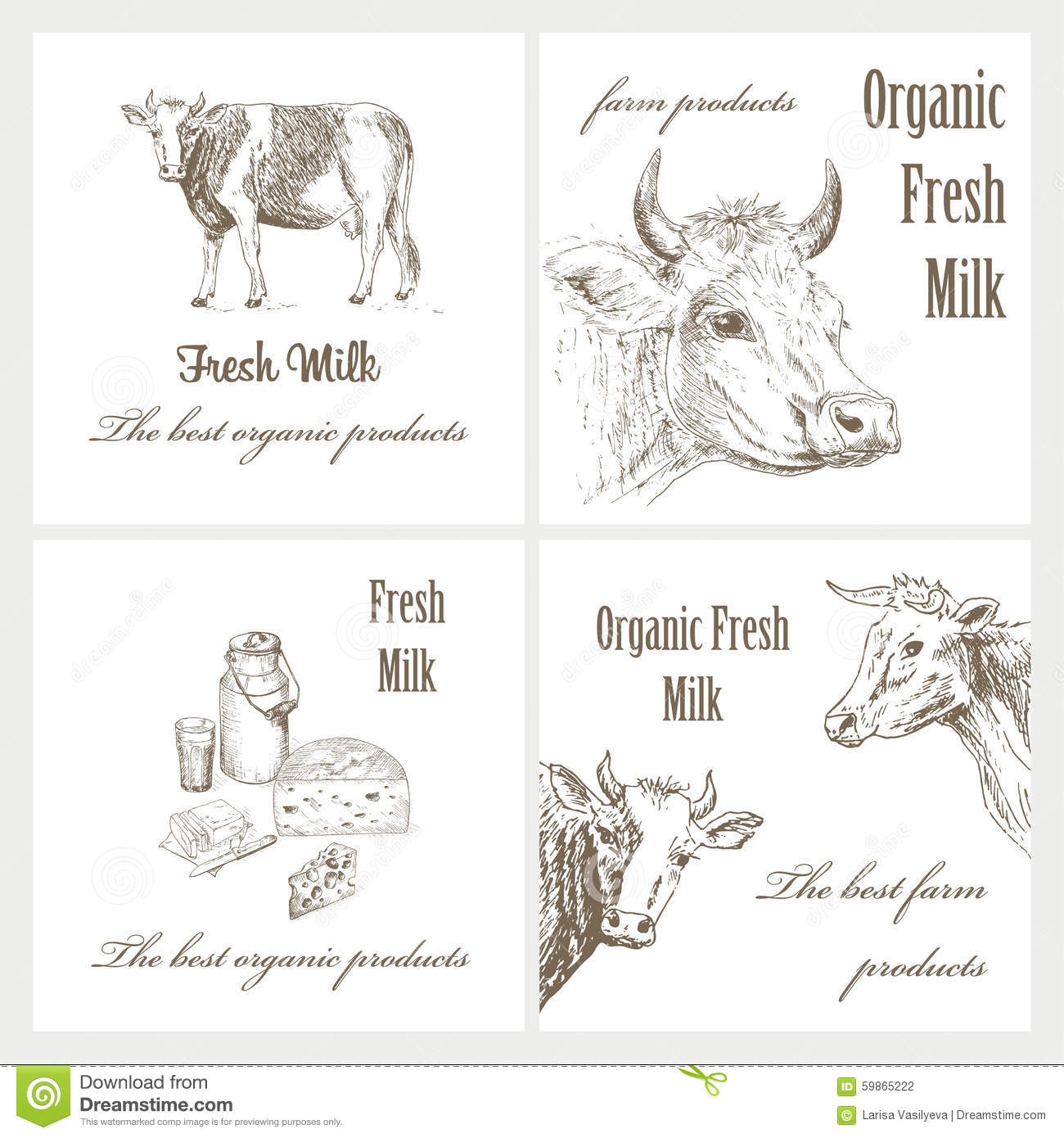 Milk And Cow Stock Vector - Image: 59865222