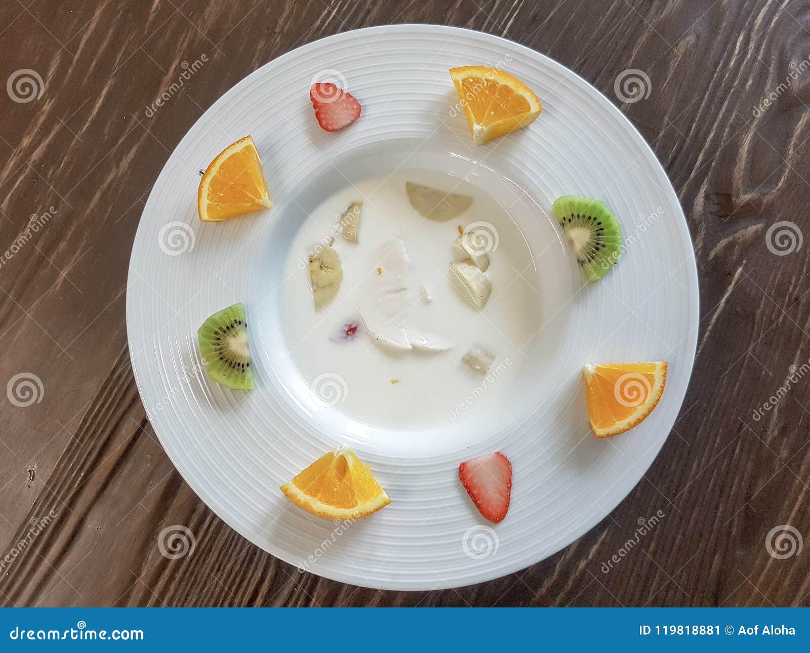 Milk Custard With Fruit Salad Stock Image Image Of Gourmet Lunch 119818881