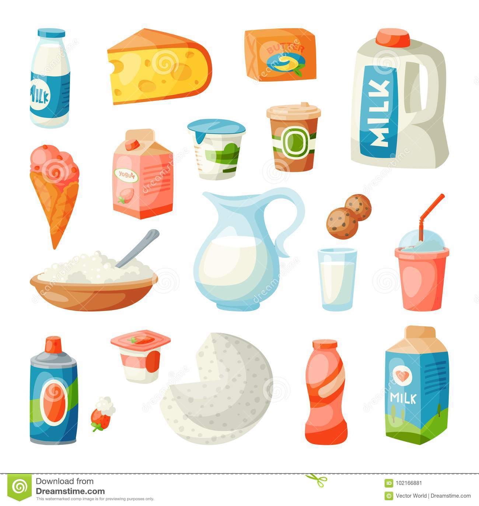 Milk dairy products in flat style breakfast gourmet organic meal fresh diet food milky drink ingredient nutrition vector