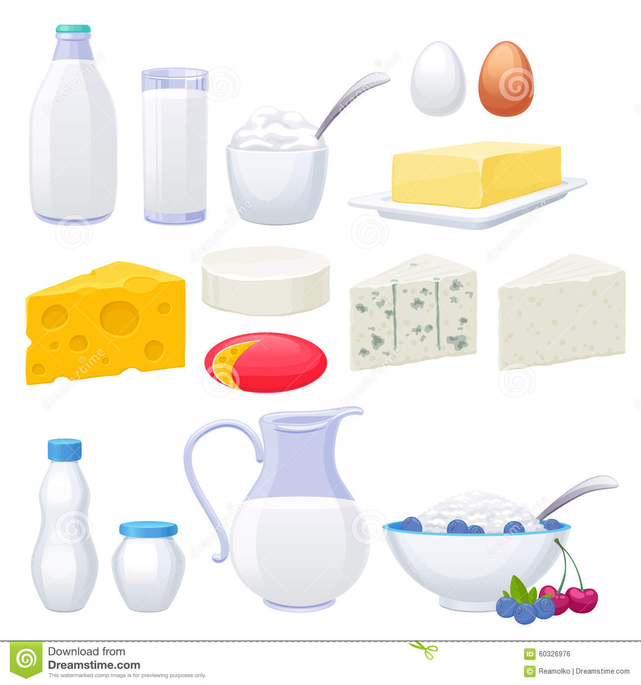 Milk Dairy Products Icons Set Stock Vector Image 60326976