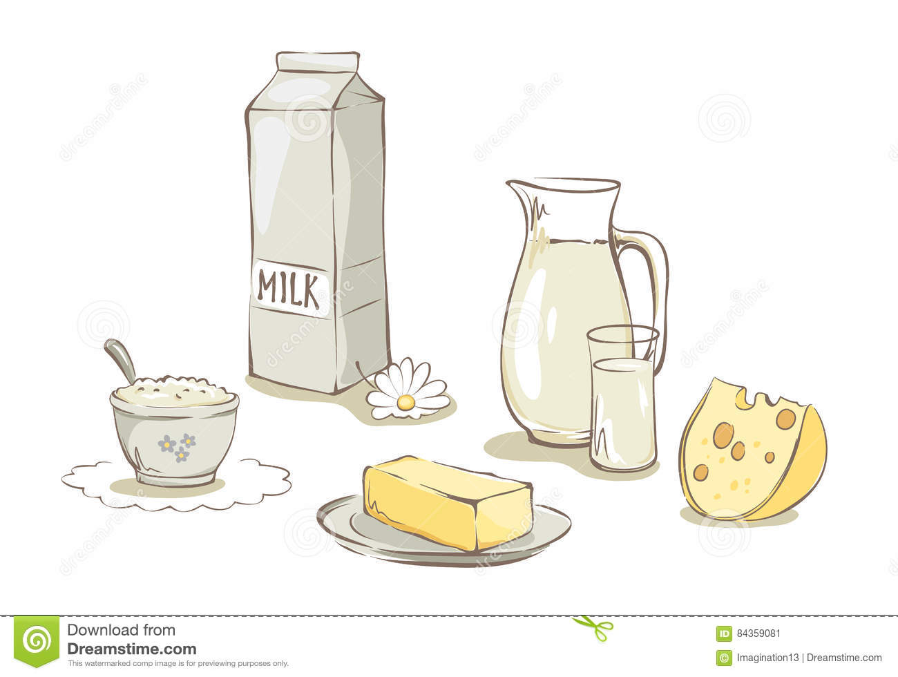 Milk And Dairy Products -- Set Stock Vector - Illustration ...