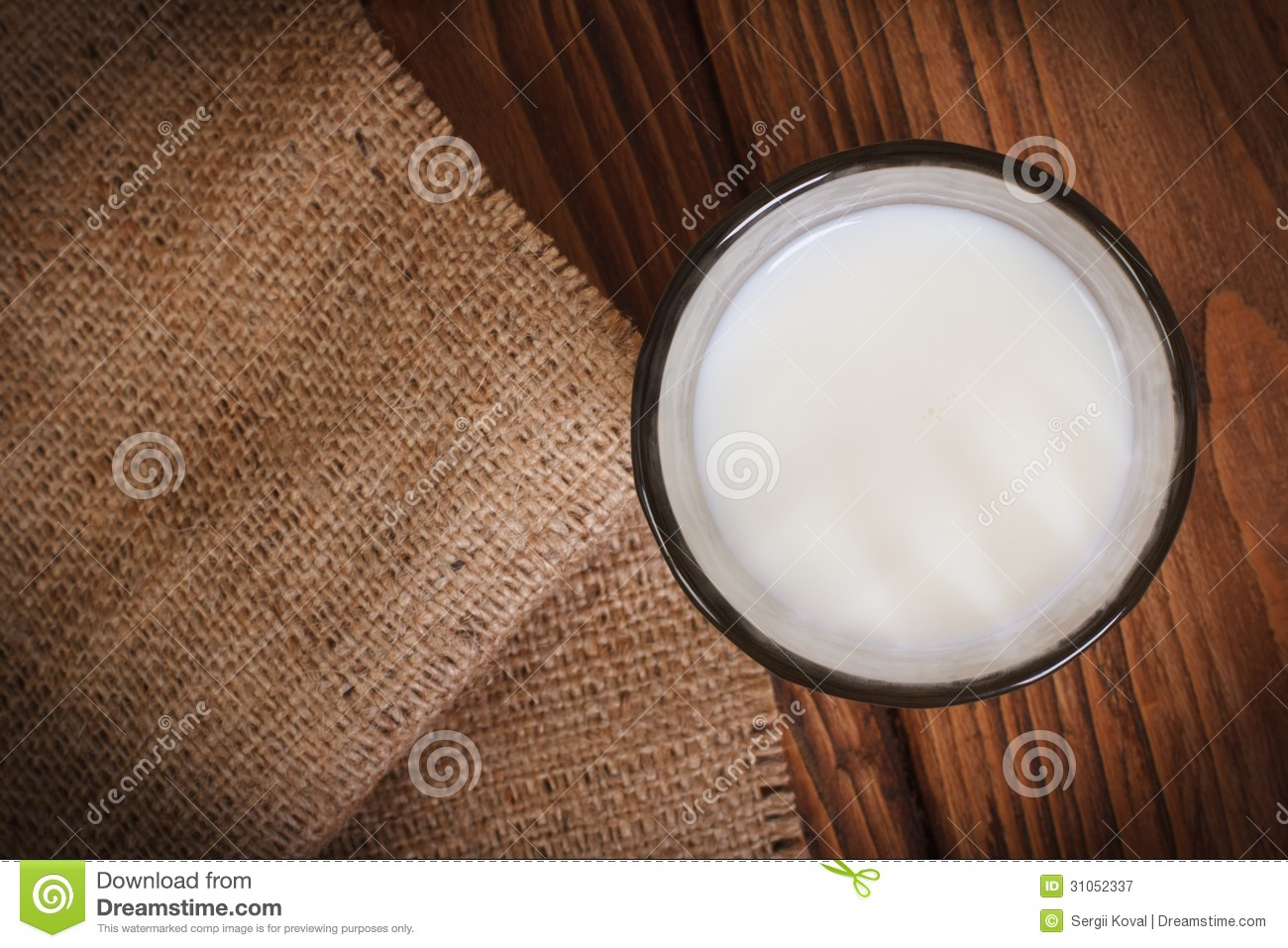 Wooden Table Top View ~ Milk in a glass on wooden table royalty free stock