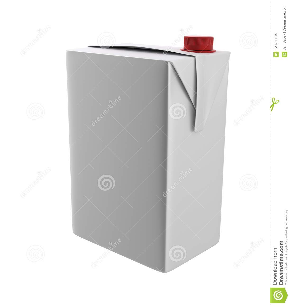 Milk, Juice Or Cream Carton. Red Lid. White Background. Clipping ...