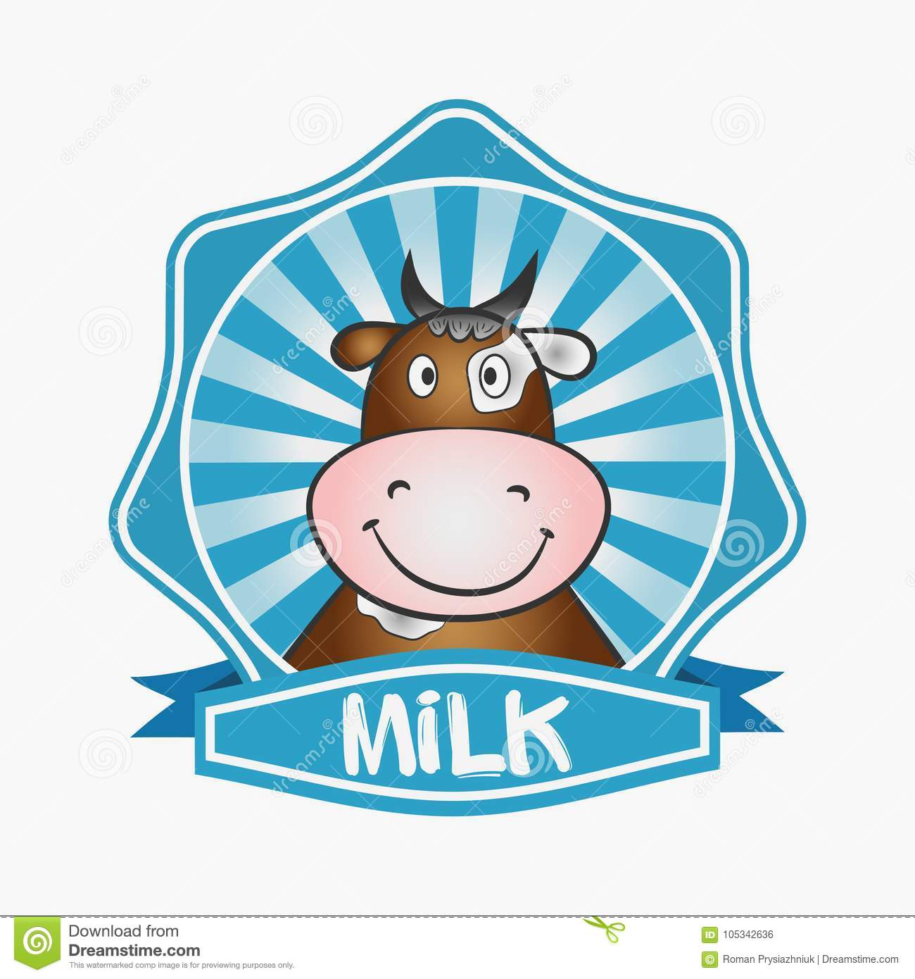 Milk Logo. Template Design Label, Emblem. Print For Packaging With A ...