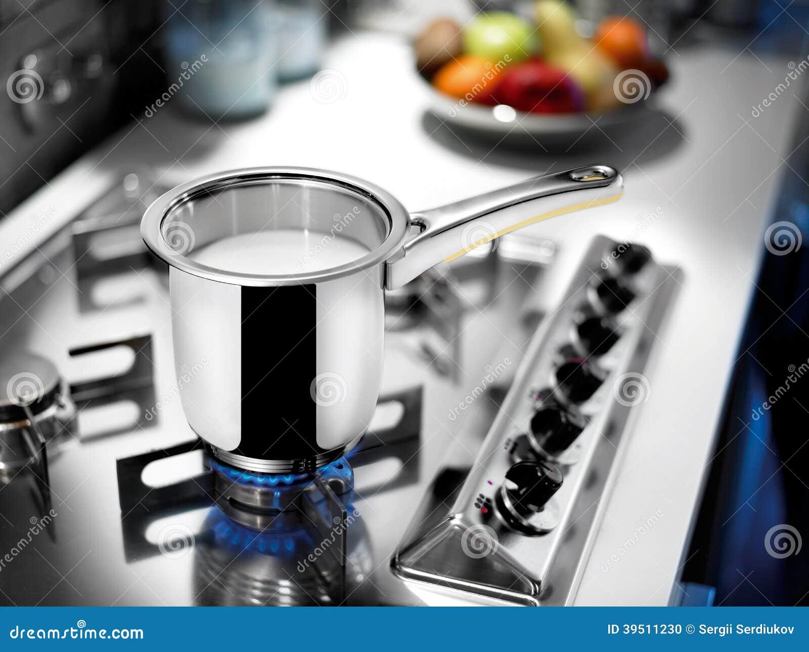 Milk pot on cooker