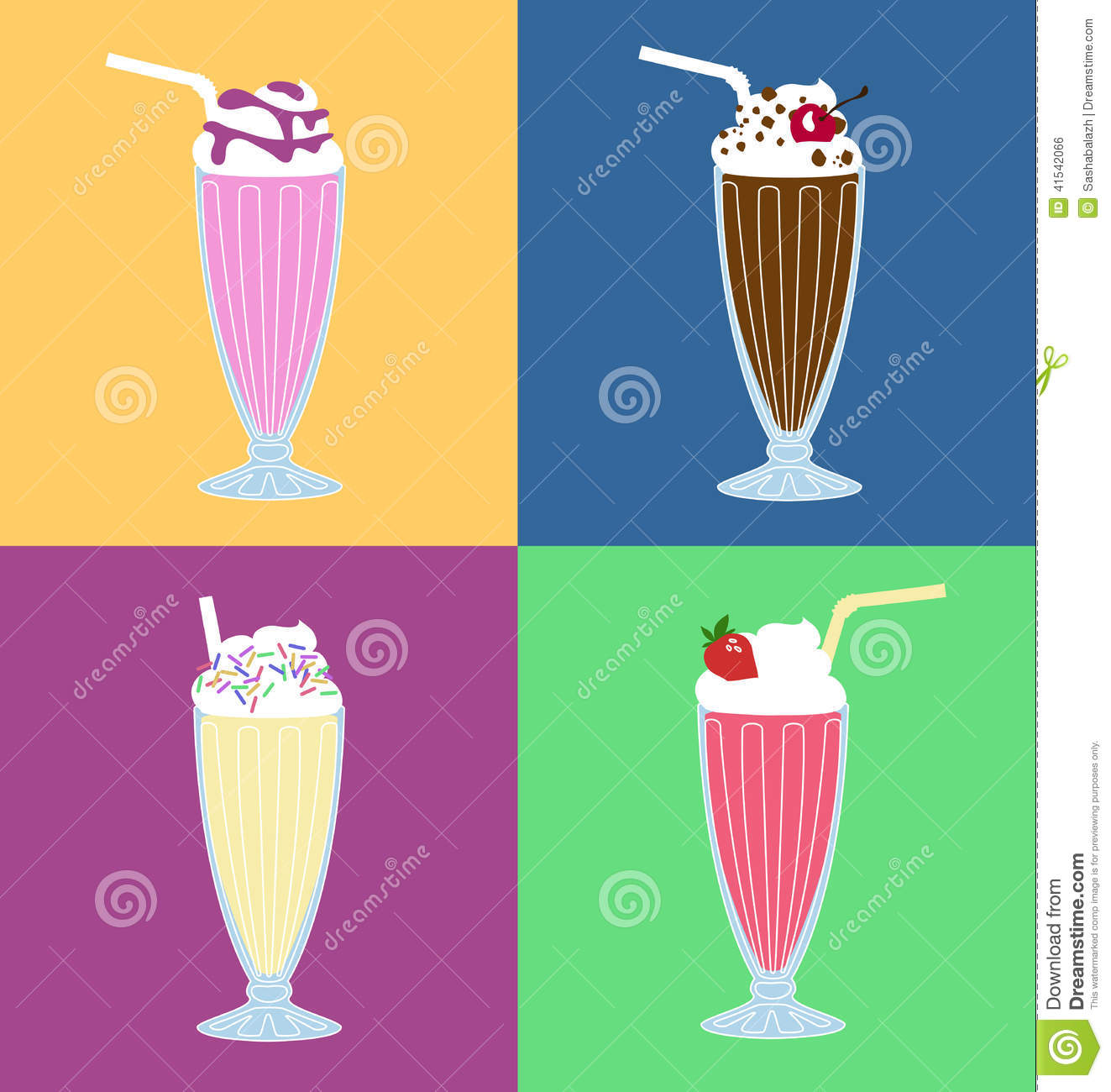 Set of different milkshakes in retro glasses on bright background. Can ...